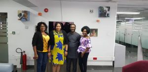 L-R Ehioma Onaro and Lilian Odim of The Audrey Pack with Obinna Ukachukwu, Hygeia HMO's Executive Head for Business Development & Strategy and Tobiloba Banwo, Products and Partnerships at Hygeia HMO